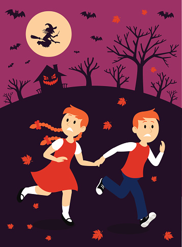 a clipart of a boy and a girl  running away after they found out a witch house
